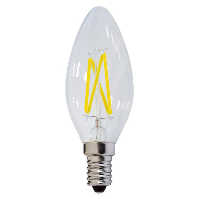LED žárovka E14 4W filament svíčka čirá teplá bílá