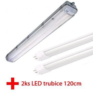 Prachotěsné svítidlo + 2xLED zářivka 120cm 18W 4000K