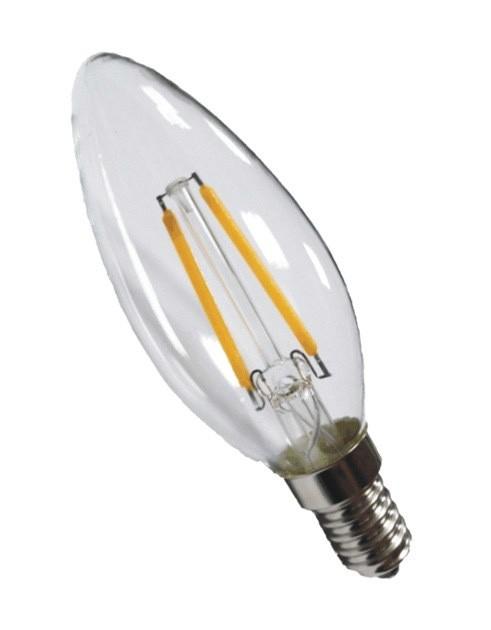 IdeaLED LED žárovka E14 4W filament svíčka čirá teplá bílá