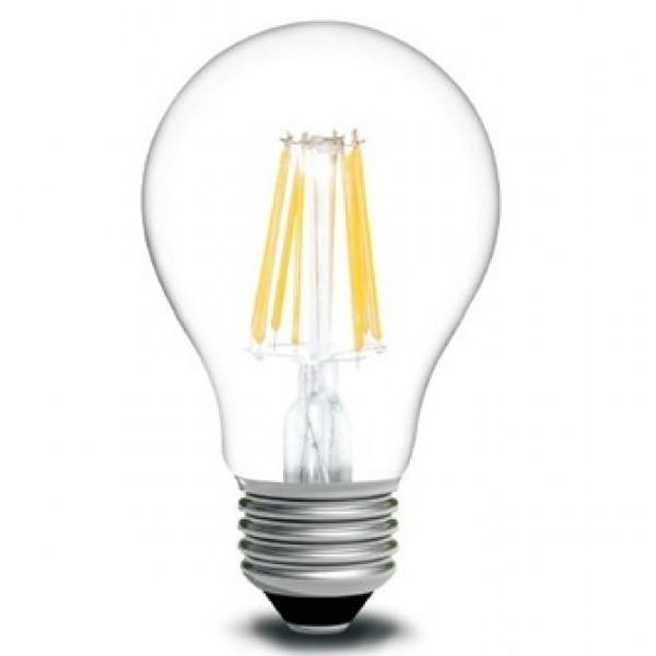 LED žárovka filament 6.5W čirá E27 teplá bílá