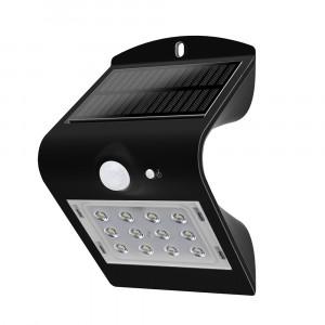 LED solární svítidlo na stěnu s čidlem 1.5W 4000K černé