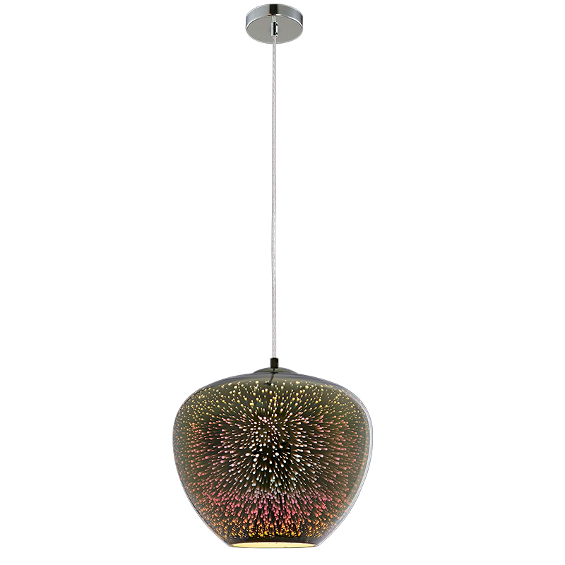 Designový 3D lustr Fireworks sklo, chrom, D400xH345mm