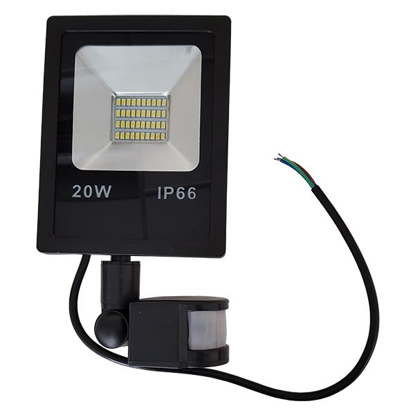 LED venkovní reflektor SLIM SMD PIR IP66 20W studená bílá