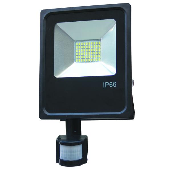 LED venkovní reflektor SLIM SMD PIR IP66 50W studená bílá